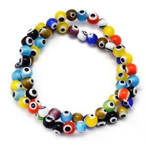 Mixed-Colour Evil Eye Glass Plain Round Beads 4mm Strand Of 95+ Pieces Y16105