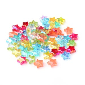 Mixed-Colour AB Acrylic Star Beads 11mm Pack Of 150+ Y16120