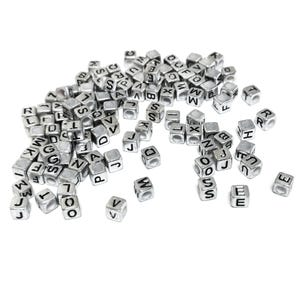 Silver Random Alphabet Acrylic Cube Beads 6mm Pack Of 100+ Y16130