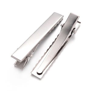 Silver Iron 7.5mm x 10mm x 46mm Rectangle Alligator Hair Clips Pack Of 50+ Y16140
