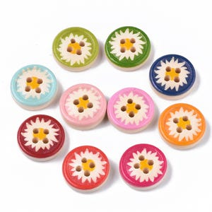 Mixed-Colour/Beige Wood 13mm 4-Hole Round Flower Buttons Pack Of 50+ Y16200