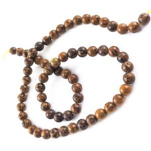 Brown/Orange Miriam Calligraphy Stone Grade A Plain Round Beads 6mm Strand Of 60+ Pieces Y16210