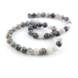 Grey Hawk Eye Jasper Grade A Plain Round Beads 8mm Strand Of 45+ Pieces Y16230