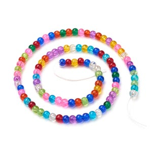 Mixed-Colour Cracked Glass Plain Round Beads 4mm Strand Of 90+ Pieces Y16235