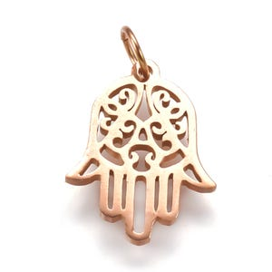 Rose Gold 316 Stainless Steel Hamsa Hand Pendant 12mm x 16.5mm  Y16245