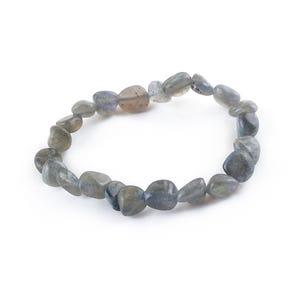 Grey Labradorite One Size Nugget Stretchy Bracelet  Y16260