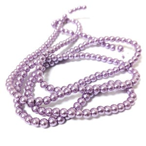 Lilac Pearlised Glass Plain Round Beads 4mm-5mm Long Strand Of 195+ Pieces Y16275