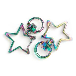 Rainbow Metal Alloy 23mm x 34mm Star Keyring Clasps Pack Of 2 Y16285