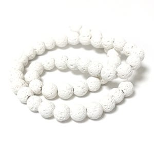 White Matte Lava Rock Grade A Plain Round Beads 8mm Strand Of 45+ Pieces Y16325