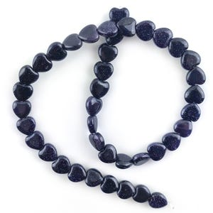 Blue Goldstone Puffy Heart Beads 10mm Strand Of 38+ Pieces Y16355