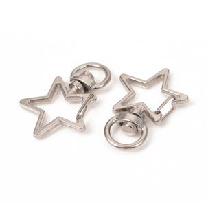 Silver Zinc Alloy 24mm x 34mm Star Keyring Clasps Pack Of 10 Y16380