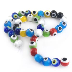 Mixed-Colour Evil Eye Glass Plain Round Beads 10mm Strand Of 35+ Pieces Y16390