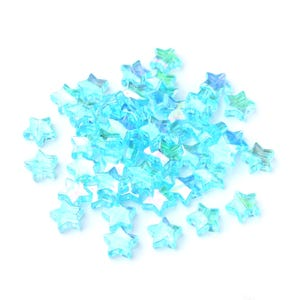 Blue AB Acrylic Star Beads 11mm Pack Of 100+ Y16410