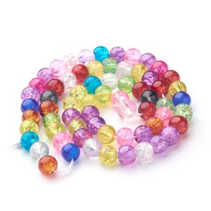 Mixed-Colour Cracked Glass Plain Round Beads 6mm Strand Of 60+ Pieces Y16420