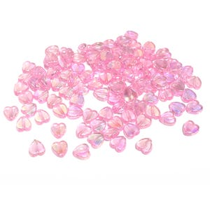 Pink AB Acrylic Heart Beads 8.5mm x 9mm Pack Of 100+ Y16435