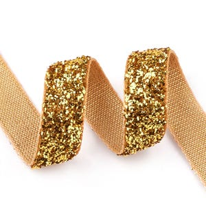 Gold Glitter Nylon Ribbon 5M Continuous Length 10mm Wide Y16445