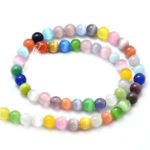 Mixed-Colour Glass Cat's Eye Plain Round Beads 6mm Strand Of 60+ Pieces Y16470