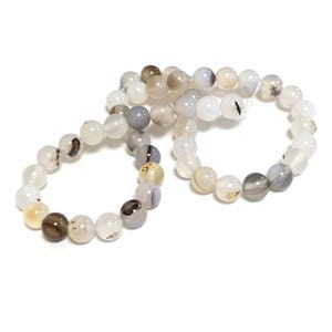 White/Brown Dendritic Agate Grade A Plain Round Beads 8mm Strand Of 45+ Pieces Y16510