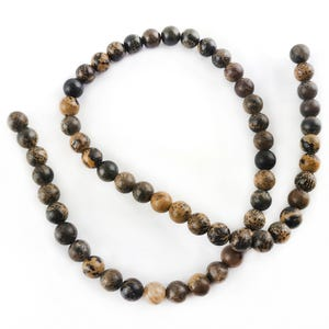 Brown/Grey Chohua Jasper Grade A Plain Round Beads 6mm Strand Of 60+ Pieces Y16530