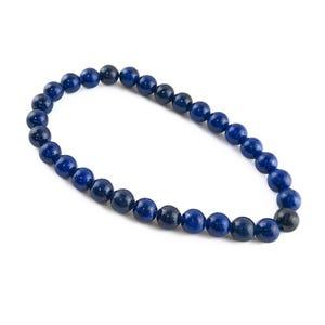 Blue Lapis Lazuli One Size Round Bead Stretchy Bracelet  Y16535