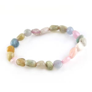 Mixed-Colour Morganite One Size Nugget Stretchy Bracelet  Y16550