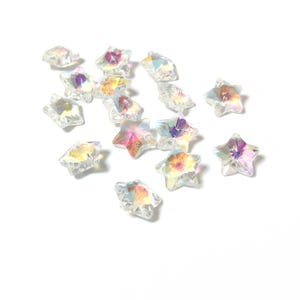 Clear AB Glass Star Pendants 13mm Pack Of 15 Y16560