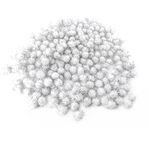 White/Silver Glitter Tinsel & Yarn Pom Poms 15mm Pack Of 200+ Y16580