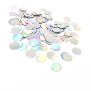Silver AB Flat Round Acrylic Loose Sequins 16mm Pack Of 150+ Y16585