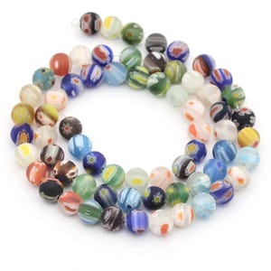 Mixed-Colour Frosted Millefiori Glass Plain Round Beads 6mm Strand Of 60+ Pieces Y16595
