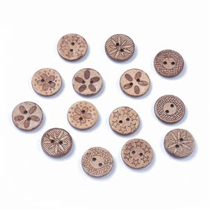 Brown Wood 18mm 2-Hole Round Mixed-Pattern Buttons Pack Of 20 Y16605