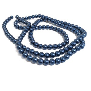 Dark Blue Pearlised Glass Plain Round Beads 6mm Long Strand Of 145+ Pieces Y16615