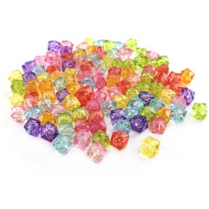 Mixed-Colour Acrylic Faceted Cube Beads 10mm Pack Of 100+ Y16625