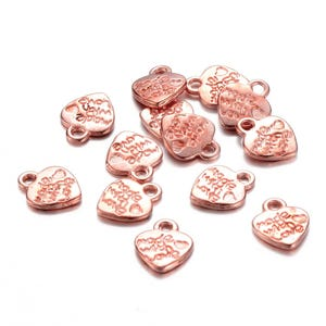 """Rose Gold Metal Alloy """"Made With Love"""" Heart Charms 9.5mm x 12mm Pack Of 30 Y16635"""