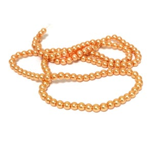 Orange Pearlised Glass Plain Round Beads 6mm Long Strand Of 145+ Pieces Y16640