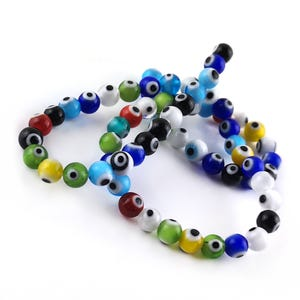 Mixed-Colour Evil Eye Glass Plain Round Beads 6mm Strand Of 60+ Pieces Y16680