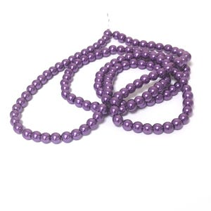 Purple Pearlised Glass Plain Round Beads 6mm Long Strand Of 145+ Pieces Y16700