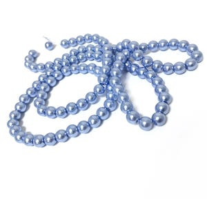 Blue Pearlised Glass Plain Round Beads 8mm Long Strand Of 100+ Pieces Y16720