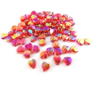 Red AB Acrylic Heart Beads 8.5mm x 9mm Pack Of 100+ Y16725