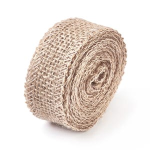 Beige Burlap Hessian Ribbon Double-Sided 3M Continuous Length 25mm Wide Y16780