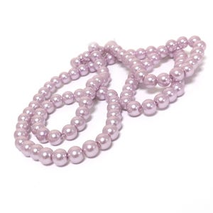 Lavender Pearlised Glass Plain Round Beads 8mm Long Strand Of 100+ Pieces Y16785