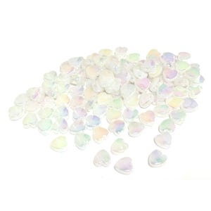 White AB Acrylic Heart Beads 8.5mm x 9mm Pack Of 100+ Y16790