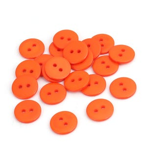 Orange Resin 15mm 2-Hole Round Buttons Pack Of 30 Y16805