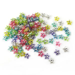 Mixed-Colour/Silver Acrylic Star Beads 10mm Pack Of 100+ Y16840
