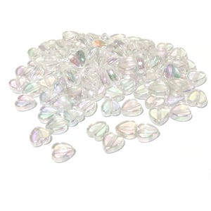 Clear AB Acrylic Heart Beads 8.5mm x 9mm Pack Of 100+ Y16880