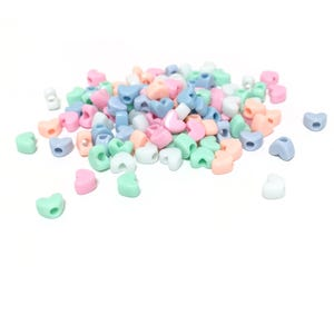 Pastel Mixed-Colour Acrylic Pony Heart Spacer Beads 11.5mm x 9mm Pack Of 100+ Y16895