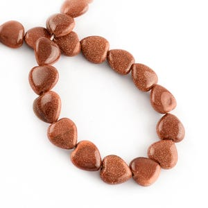 Brown Goldstone Puffy Heart Beads 10mm Strand Of 38+ Pieces Y16900