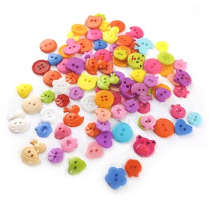 Mixed-Colour Acrylic 13-22mm 2 & 4-Hole Mixed Shape Buttons Pack Of 90+ Y16905