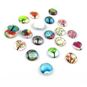 Mixed-Colour Smooth Glass 20mm Calibrated Coin Mixed Tree Cabochons Pack Of 20 Y16920