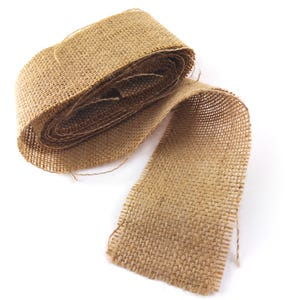 Brown Burlap Hessian Ribbon Double-Sided 2.5M+ Continuous Length 6.5cm Wide Y17000