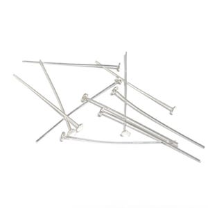Bright 925 Sterling Silver 0.5mm x 25mm  Flat Head Pins Pack Of 10 Y17015